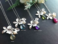 Set of 6,Orchid flower Necklace,leaf initial,customize initial and birthstone,bridesmaid gifts,flower girl,wedding jewelry,birthday. $204.00, via Etsy.