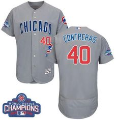 84817a0c5 Cubs #40 Willson Contreras Grey Flexbase Collection Road 2016 World Series  Champions Super Bowl Jerseys