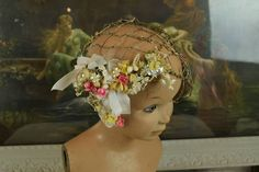 - Beautiful Antique French Wired Bridal Cap With Flowers & Ribbon Ribbon Art, Silk Ribbon, Female Head, Hat Stands, Something Old, Tiny Flowers, Vintage Bridal, Red Hats, Bridal Outfits