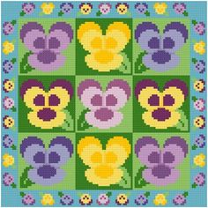 Pansies cross stitch pattern.