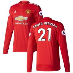 Ander Herrera Manchester United adidas 2017/18 Home Replica Patch Long Sleeve Jersey - Red - $129.99