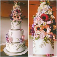 """Krish - Cake Designer - London on Instagram: """"My obsession with combining sugar flowers with hand painted details on cakes started back in 2010, when I first launched Cakes By…"""" Luxury Wedding Cake, Wedding Cakes, Painted Wedding Cake, Wedding Cake Designs, Sugar Flowers, Product Launch, Hand Painted, London, Table Decorations"""