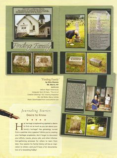 Scrapbook Page Ideas - I love this one a lot! They used the cemetery markers for the page. Genealogists will love this too!