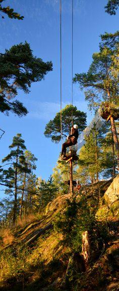 Mustan radan päättävässä liu'ussa, joka johtaa Huipun yläradoille. #seikkailupuisto #treetopadventure #espoo #finland