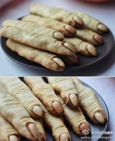 Witches Fingers Cookies. Almond, candy , chocolate and butter make it!
