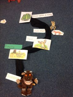 A tactile story map. The gruffalo story. Gruffalo Eyfs, Gruffalo Activities, The Gruffalo, Speech Activities, English Activities, Preschool Activities, Reading Corner Classroom, New Classroom, Early Years Topics