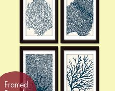 Items similar to Underwater Sea Coral Collection (Series B) - Set of 3 - Art Prints (Featured in Marine, Celery and Ocean Blue) Nautical Beach Inspired Theme on Etsy