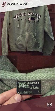 Women's MV Sport Brand Green Zip-Up Hoodie Size Large MV Sport Tops Sweatshirts & Hoodies
