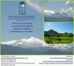 Disfrutar de las hermosas montañas de nuestra tierra colombiana y un maravilloso paisaje a sus alrededores, es posible desde la capital Caldense, Manizales.  Haciendas y Viajes Mediterráneo te invita a disfrutar de las reservas naturales de esta hermosa región. Comunicate con nosotros y reserva ya tu alojamiento para esta temporada:   www.haciendasmediterraneo.com  gerencia@haciendasmediterraneo.com  Teléfono: (6) 8863784 - (6) 8859863 Celulares: 3103731265 - 3216436013 Manizales, Caldas…