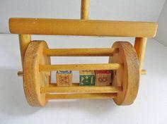Vintage Wood Push Toy Toddler Toy Wooden Blocks