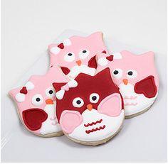 owl valentines cookies - Baking_in_Heels