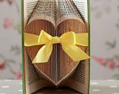 Folded Large Heart Upcycled Book Art Sculpture