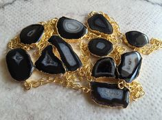 Long Chain Necklace/Black Natural Agate by FootSoles on Etsy