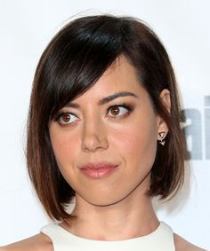 Aubrey Plaza Straight Bob. Try on this hairstyle and view styling steps! http://www.thehairstyler.com/hairstyles/formal/medium/straight/Aubrey-Plaza-smooth-dark-brown-hairstyle