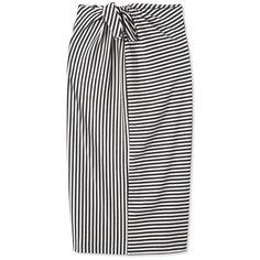 Tibi Ren Stripe Tie Knit Skirt ($275) ❤ liked on Polyvore