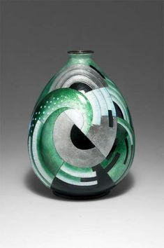 1930's Camille Faure Limoges Green Vase
