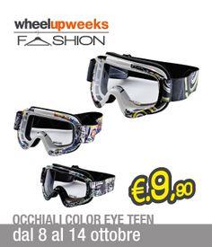 Occhiali Alike Color Eye Teen con lente antifog e antigraffio, prese d'aria multiple e protezione UV 400 a soli 9.9 euro fino al 14 ottobre, in occasione del ritorno delle Wheelup Fashion Weeks!