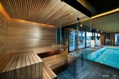 Prestige Saunas offer unique design features for your sauna or steam room. Sauna Steam Room, Sauna Room, Indoor Swimming Pools, Swimming Pool Designs, Indoor Pools In Houses, Lap Pools, Backyard Pools, Pool Decks, Pool Landscaping
