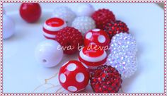 Valentine's Day Red and White Chunky Bubblegum Bead Mix  18 Beads