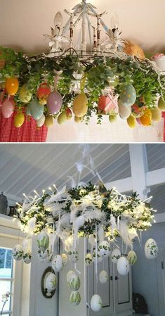 Give your chandelier an Easter egg makeover, 27 easy and low budget crafts, to make this Easter Sour Easter Table, Easter Party, Easter Eggs, Easter Bunny, Diy Osterschmuck, Easy Diy, Budget Crafts, Diy Easter Decorations, Deco Floral
