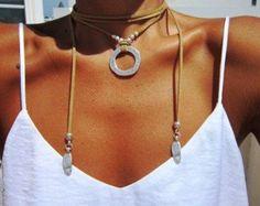ring leather necklace eternity necklace Boho jewelry by kekugi