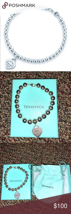 "Tiffany Bead Bracelet (Silver) An authentic bead bracelet from Tiffany is new with a blue box and a pouch.Its never been worn.  Size small-6.5"" long. From my closet to yours:) Tiffany & Co. Jewelry Bracelets"