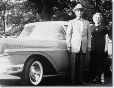 *ELVIS' GRANDPARENTS ~ J.D. and his second wife Vera Presley with the car Elvis gave them