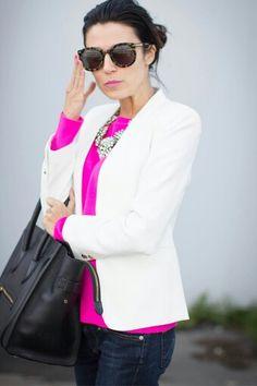 White blazer + hot pink + statement necklace