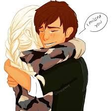 Astrid returning from a tour in Germany and Hiccup welcomes her home.