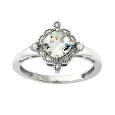 6.0mm Cushion-Cut Aquamarine and Diamond Accent Vintage Ring in 10K White Gold $194.65