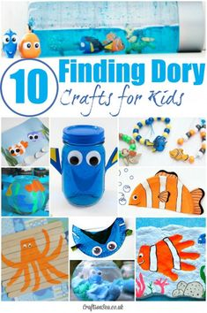 My children love these Finding Dory crafts for kids! Seen the film? Now get the glue and paints out to keep the kids busy and happy too! Craft Activities For Kids, Preschool Crafts, Toddler Activities, Projects For Kids, Fun Crafts, Craft Projects, Arts And Crafts, Craft Ideas, Nemo Crafts For Kids