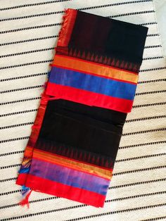 Buy Black kanchi Silk Cotton Saree with Grand Zari red Pallu & Silk temple Border Silk Cotton Sarees, Temple, Outdoor Blanket, Red, Black, Black People, Temples