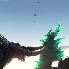 This gif is so funny because Drago, Toothless, and Hiccup are slowly falling, but then the baby dragon is still up there