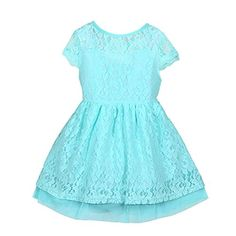 Weixinbuy Kids Girls Lace Double Layer One Piece Party Tutu Dress Blue L * Check this awesome product by going to the link at the image.