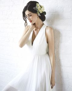 Pleated+Chiffon+Wedding+Dress+with+a+Floral+Headpiece