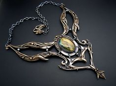 "Dragon Spirit Pendant and Necklace from Bronze, Fine Silver with Fire Labradorite - Dewi ""Of Two Worlds"""