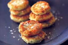 Zucchini, mint and halloumi fritters. I'd just substitute the flour out for cornflour or maybe almond meal?