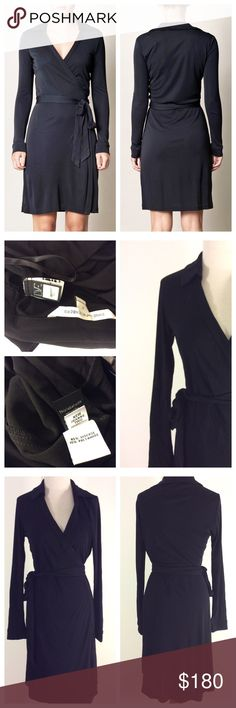 DIane Von Furstenberg black wrap DRESS 6 classic Pretty classic wrap dress by DVF.. gently worn. Size 6 Diane von Furstenberg Dresses