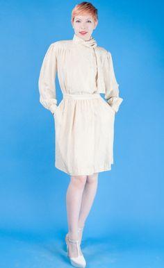 24e42c6d17 Ivory Silk 80s Vtg Mini Sheath Dress+Pussybow POLKA DOT Scarf Necktie M