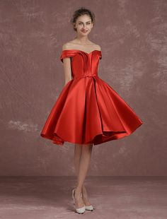 9185399e7cd Off The Shoulder Cocktail Dress Red Satin Homecoming Dress Ruched A Line  Knee Length Party Dress With Bow Sash