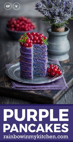 Delicious vegan and gluten-free purple pancakes with tigernut flour. Colored with natural food colorings pitaya and butterfly pea flower powder. Gluten Free Pancakes, Gluten Free Flour, Sweet Desserts, Sweet Recipes, Healthy Vegan Breakfast, Healthy Food, Tigernut Flour, Butterfly Pea Flower, Purple Food