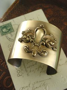 Art Nouveau Bracelet Cuff  Vintage FRENCH by chloesvintagejewelry, $52.00