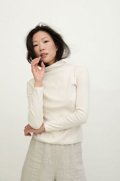 2a05a281ef3 Long Sleeve Louise Funnel Neck in Natural Heavy Weight Cotton Knit