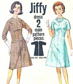 1960s Dress Pattern Simplicity 5066 Jiffy A Line by paneenjerez, $12.00