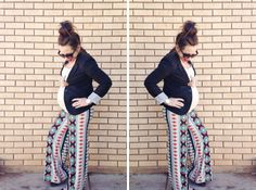 maternity style   palazzo pants & blazer    cassmillerblog.com