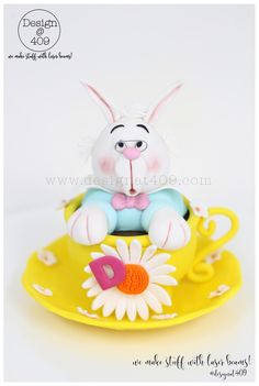 Gum Paste Cake Topper Rabbit In A Cup : Design @ 409
