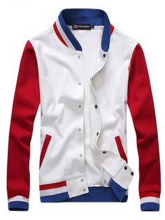 White Men Fashion Stand Collar Contrast Color Autumn Casual On Sale Cotton Blends Jacket M/L/XL/XXL 1403-YJ812-58w