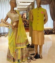 Indian weddings # color combo match # lehenga # sherwani# perfect for mehandi# azaa fashion. Indian Bridal Fashion, Indian Bridal Wear, Indian Wear, Wedding Dress For Boys, Wedding Wear, Wedding Shoot, Groom Wear, Groom Outfit, Indian Bride And Groom