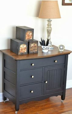 Chalk painted chest dresser dark grey #shabbychicdresserscolors