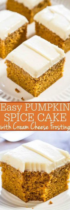 Easy Pumpkin Spice Cake with Cream Cheese Frosting - Soft, moist, and bursting with pumpkin flavor! You'll want the frosting by the spoonful! (who needs the cake when there's luscious cream cheese frosting! Mini Desserts, Fall Desserts, Just Desserts, Delicious Desserts, Dessert Recipes, Christmas Desserts, Dinner Recipes, Pumpkin Cake Recipes, Pumpkin Spice Cake